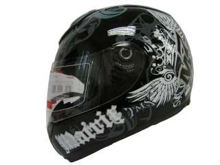 BLACK ROYAL FULL FACE MOTORCYCLE HELMET SPORT BIKE ~L