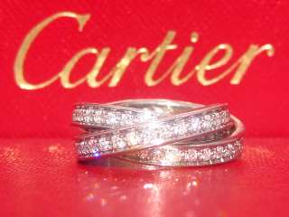 CARTIER 18K WHITE GOLD DIAMOND ROLLING TRINITY RING BAND SIZE 52 6