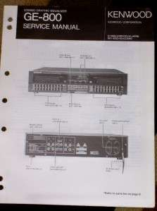 Kenwood GE 800 Graphic Equalizer Service/Parts Manual