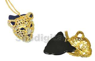Hot Rhinestone Leopard Tiger Jaguar Lion Head Necklace