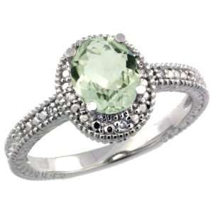 Sterling Silver Vintage Style Oval Green Amethyst Stone Ring w/ 0.04