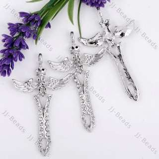 Silver Plated Crystal Rhinestone Flying Angel Wing Cross Bead Pendant