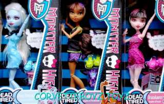 BRAND NEW MONSTER HIGH   WAVE 2 DEAD TIRED   SET OF ALL THREE   NEW
