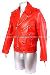 Brando Red Mens Biker Cruiser Motorcycle Leather Jacket