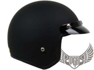 Matte Black Vintage Style Chopper cafe racer Bobber Motorcycle Helmet