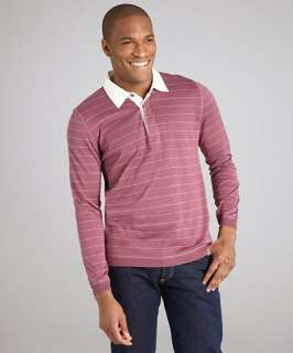 Brunello Cucinelli burgundy striped cotton long sleeve polo shirt