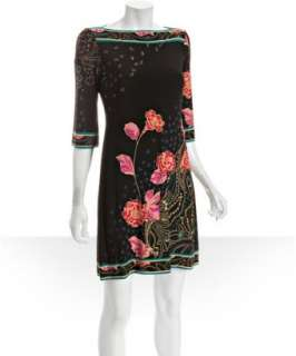 Donna Morgan black rose print jersey sheath dress
