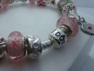 Authentic Pandora Silver Bracelet w Beads & Charms Mother day Gift