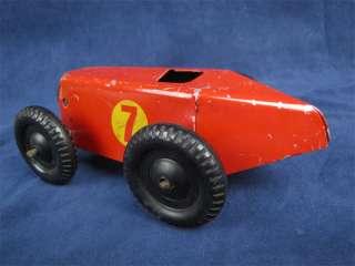 Vintage Pressed Steel Toy Race Car Plastic Wheels Tin