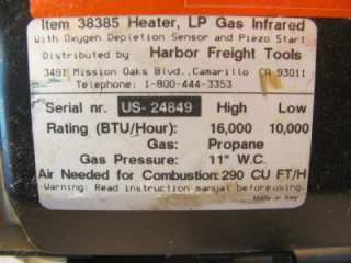 Portable (USED??) Propane Space Heater Shop/Garage  Ceramic/Infrared