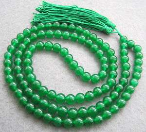 108 Green Jade Beads Tibet Buddhist Prayer Mala Necklac