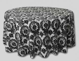 10 Pack of Round High Quality Black & White Damask Taffeta Tablecloths
