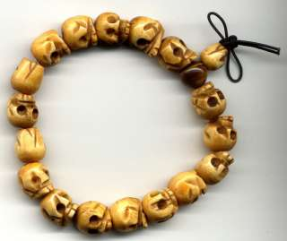HAND CRAFTED USA CUSTOM TIBETAN BUDDHIST BONE SKULL WRIST MALA