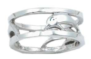 STERLING SILVER SPINNER DOLPHIN BAND FISH RING SIZE 7