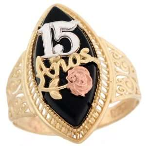 Two Tone Gold Quinceanera 15 Anos Rose Gold Flower Filigree Onyx Ring