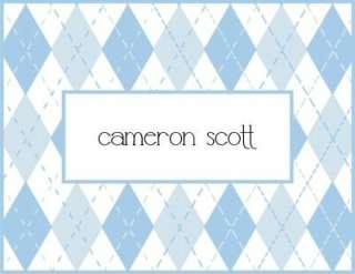 Custom Personalized Argyle Baby Note Cards Stationery