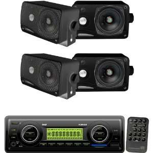 Pyle Marine Radio Receiver and Speaker Package   PLMR86B