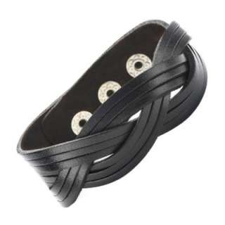 TRENDY R&B Black PLAIT Wide Leather Bracelet Cuff NEW