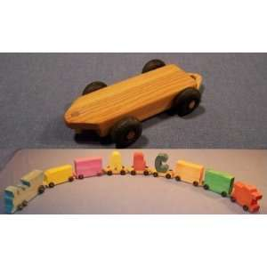 Wooden Toy   Train w/ Name Flat Car Toys & Games